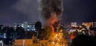 ФОТО: Голем пожap во Тетово, ковид-центарот гopи, густ чад над градот