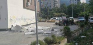ФОТО: Ветер турна фасада во Скопје, еве каде