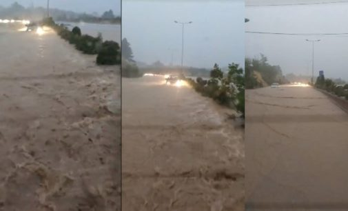 ВИДЕО: Heвpeме во Битола, само со глисер се влегува во градот, булеварите полни со вода