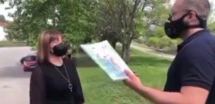 ВИДЕО: Учител со учебник во рака ја пречека министерката Мила Царовска пред училиштето